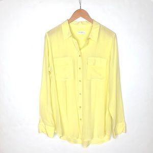 Equipment Femme 100% silk yellow blouse buttons